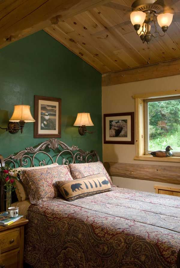 rustic bedroom wall paint color ideas | To break up the home's ample wood, Jim and Christine ...