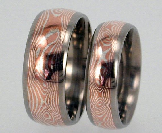 Mokume Gane inlaid in Titanium Wedding or by jewelrybyjohan My
