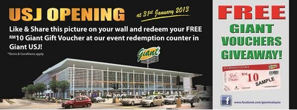 Giant Free RM10 Gift Vouchers Giveaway (Redemption Period: 31 January 2013)  http://www.mudah.co/giant-free-vouchers-giveaway/1726/