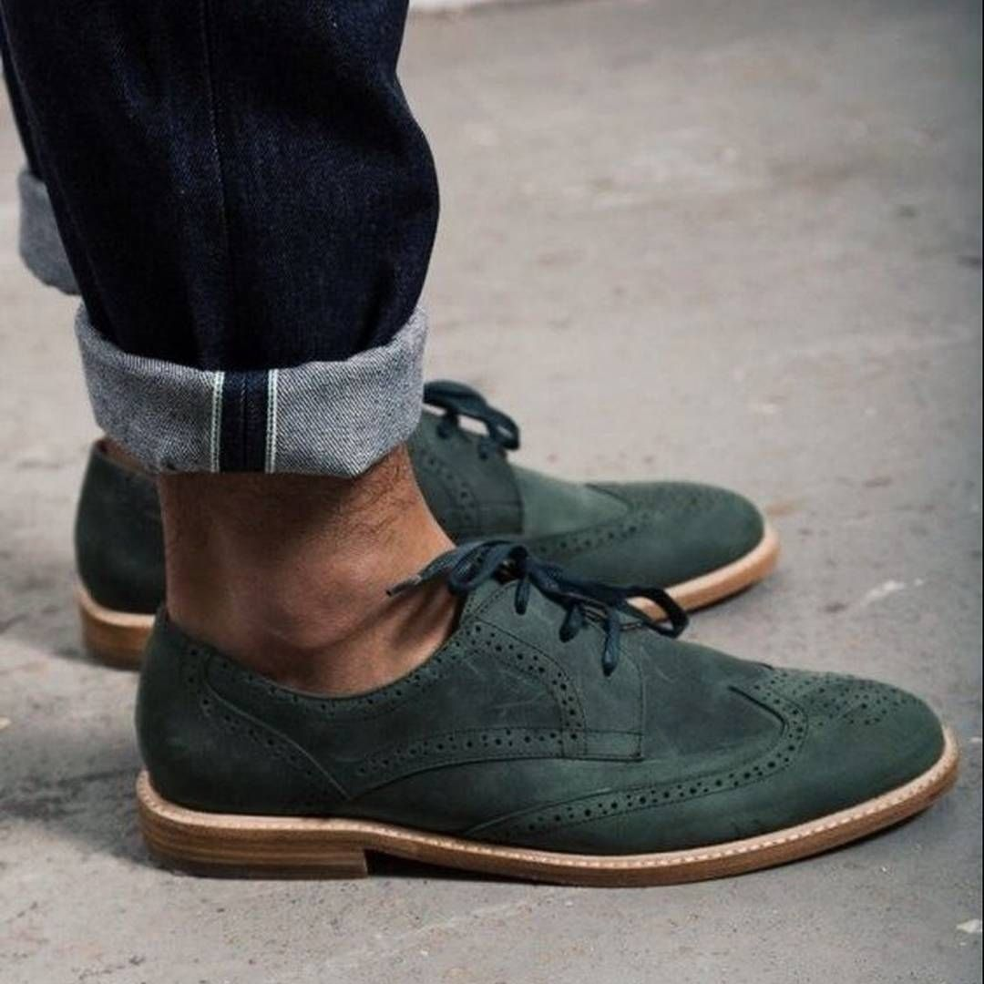 a9816072c0dc Rolled up jeans and perfect green Suede Wingtips  Suede  Men s Shoes   rolledupjeans