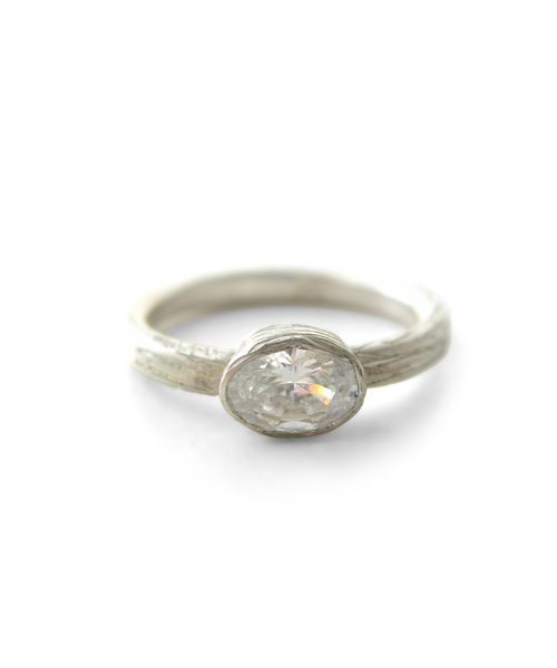 What is Moissanite? Large Oval Moissanite Engagement Ring in Recycled Gold - WHite Gold