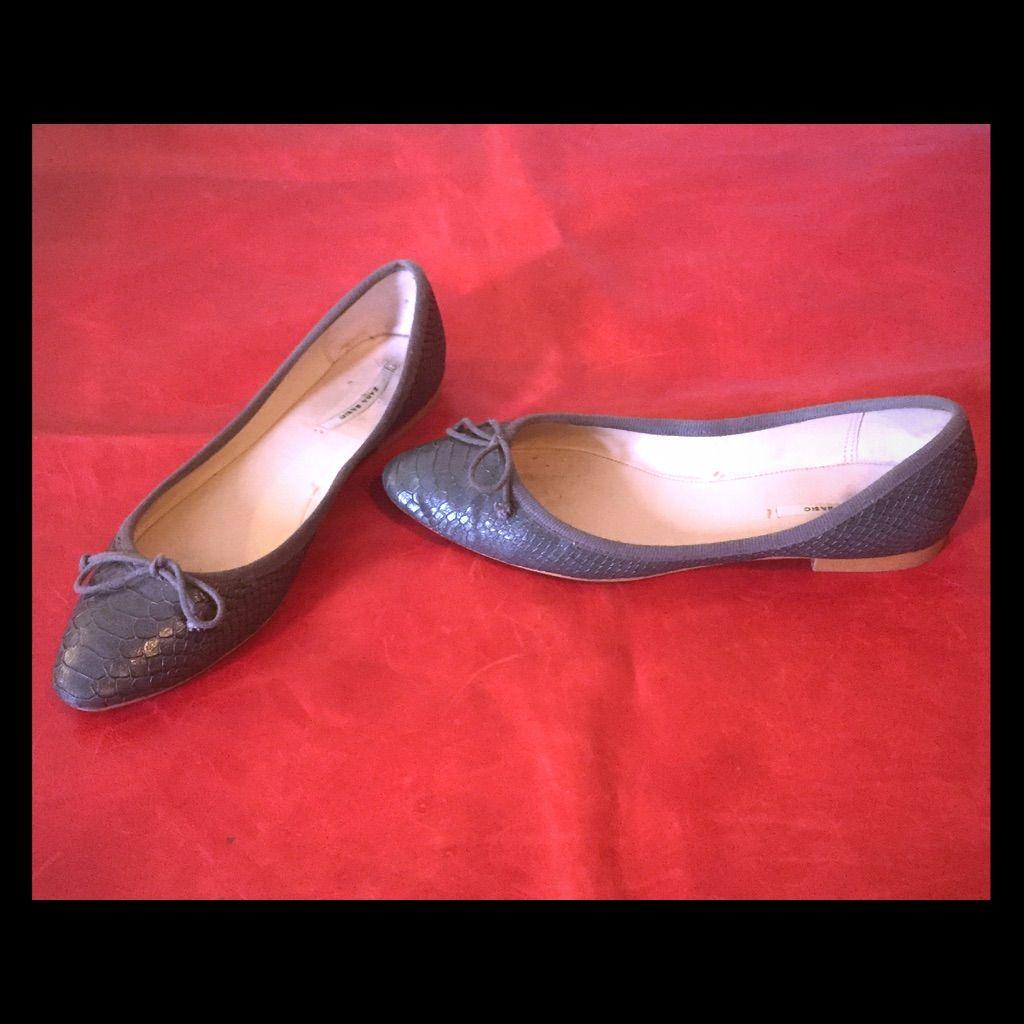 Zara Snake Embossed Ballet Flats 38 - 7.5 Gray