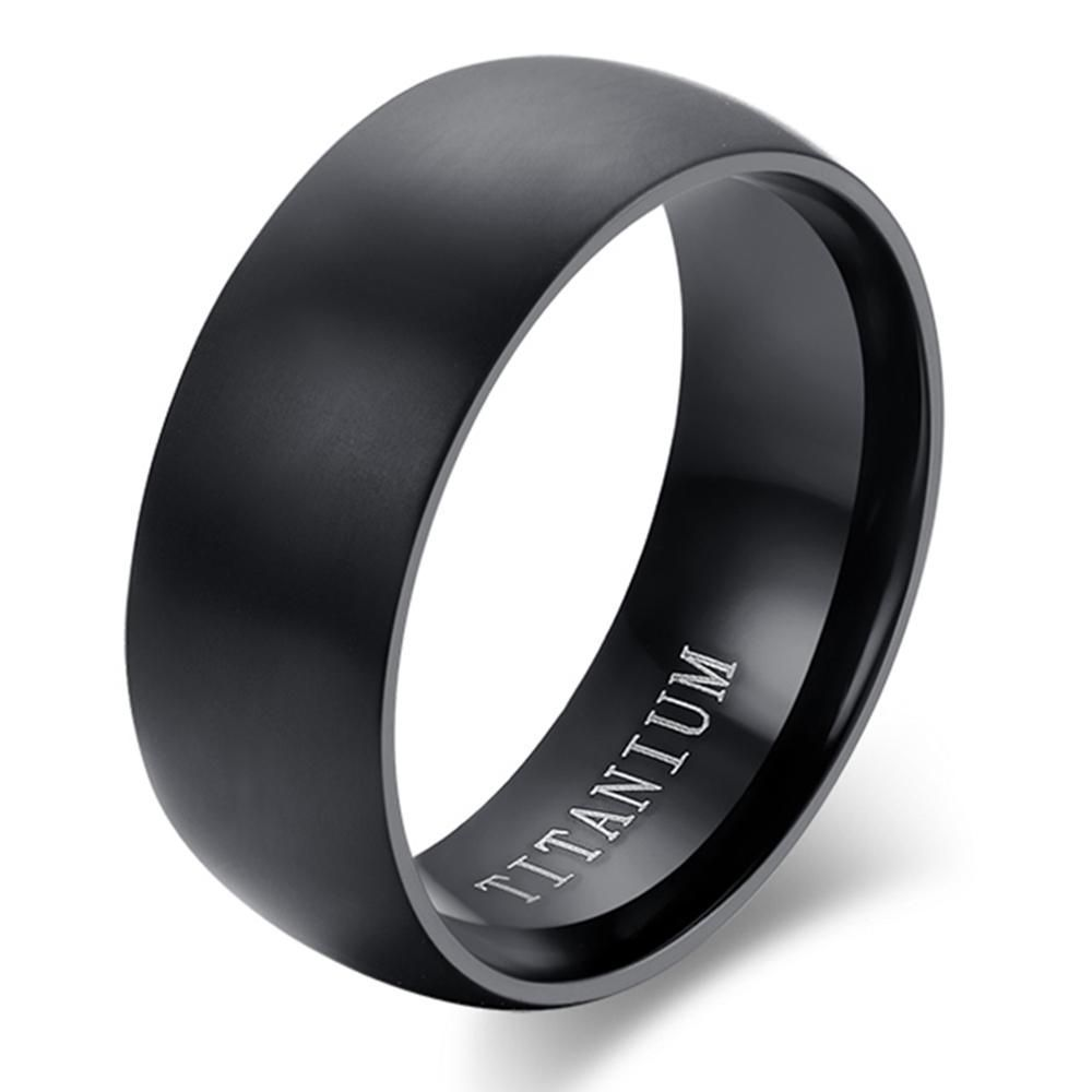 Classic Black Titanium Matte Finished Ring