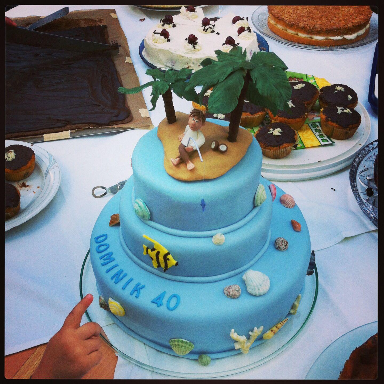 Torte mit insel und muscheln fondant pinterest for Kuchen mit insel bilder