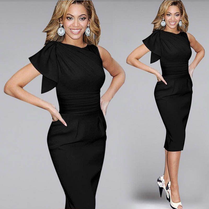 3790810eda2 Tonval Women Work Wear to Office Pencil Dress Summer Ruffle Ruched Dress  Party Elegant Black Bodycon Sheath Dresses