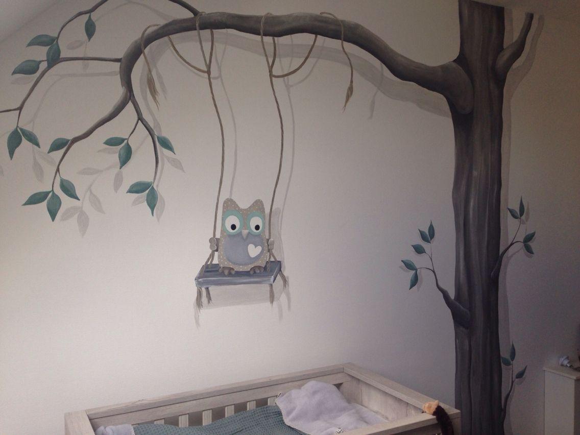 Muurschildering met boom en uil gemaakt door muurschildering babykamer - Grijs muurschildering ...
