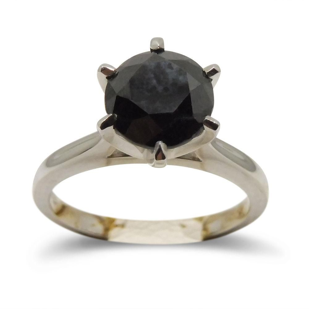 Ct black diamond engagement ring in kt white gold products
