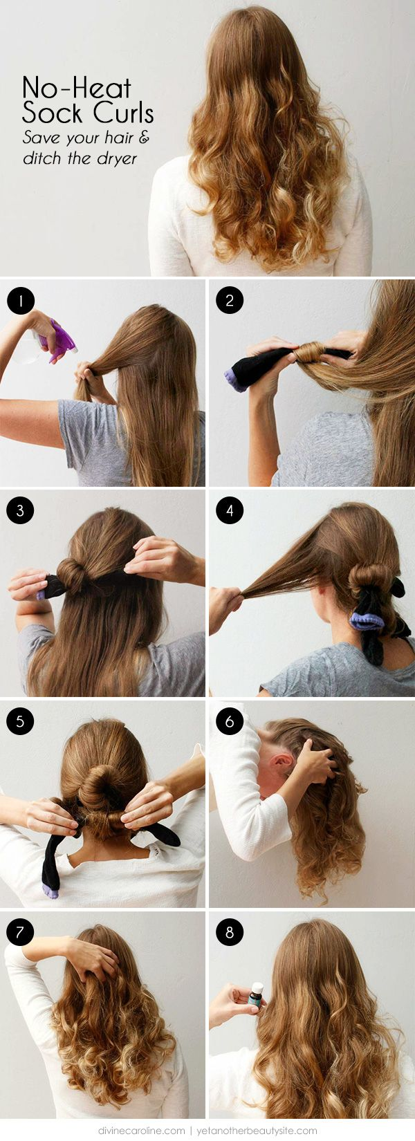 No Heat Sock Curls Save Your Hair And Ditch The Dryer More Hair Styles Hair Without Heat Hair Waves