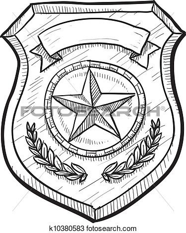 Police Badge Sketch Police Badge Badge Coloring Pages