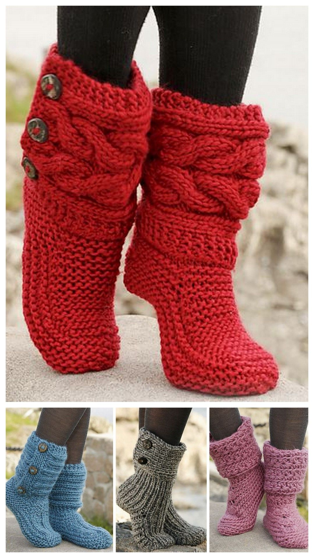 DIY Knit Slipper Boots Free Patterns by DROPS Design. My favorite ...