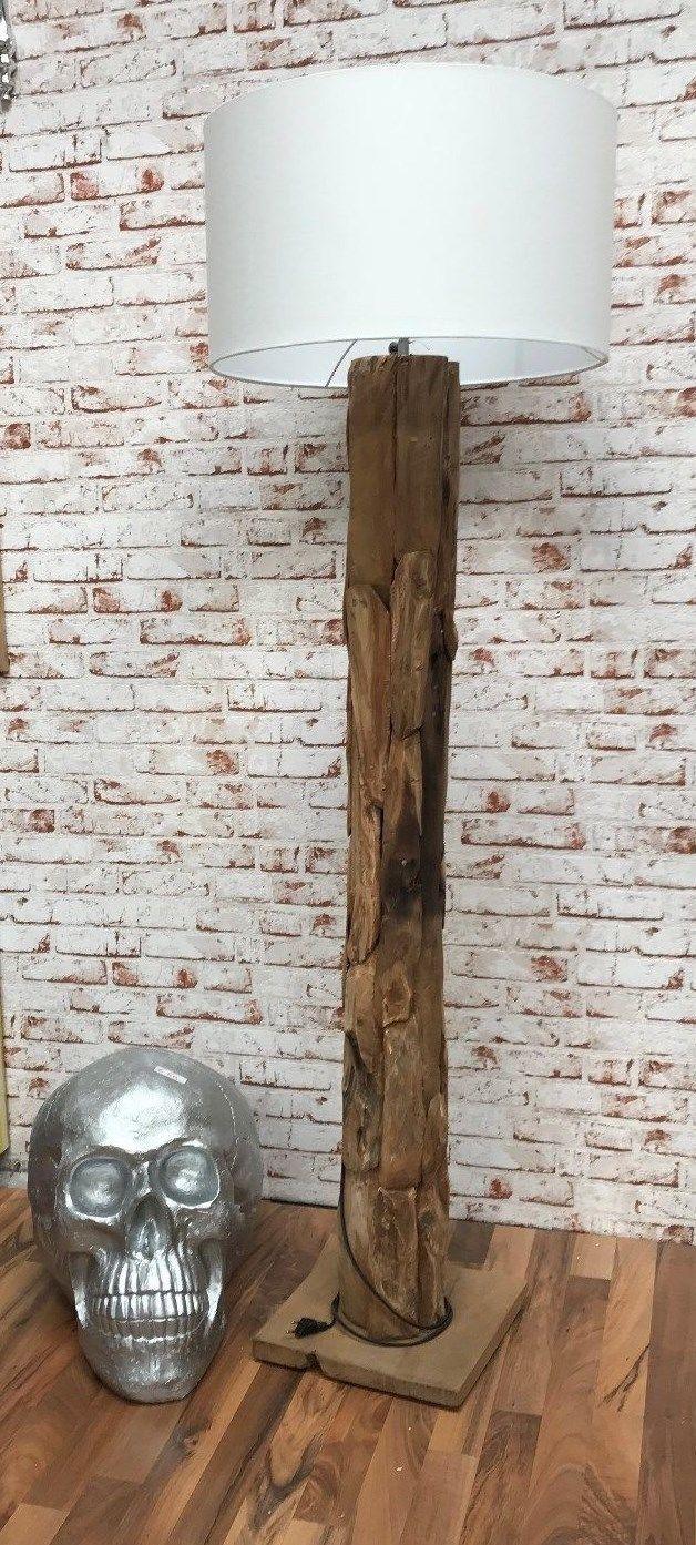 Stehleuchte Teak 140 Cm Teakholz Vintage Stehlampe Braun Ohne