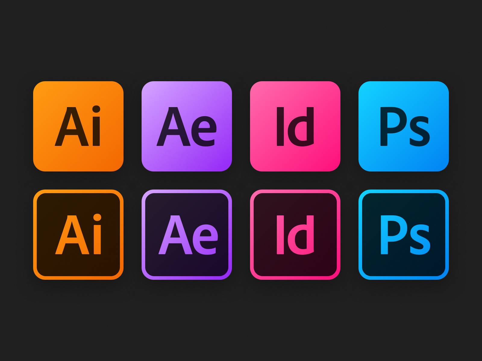 Adobe Icons indesign after affects illustrator