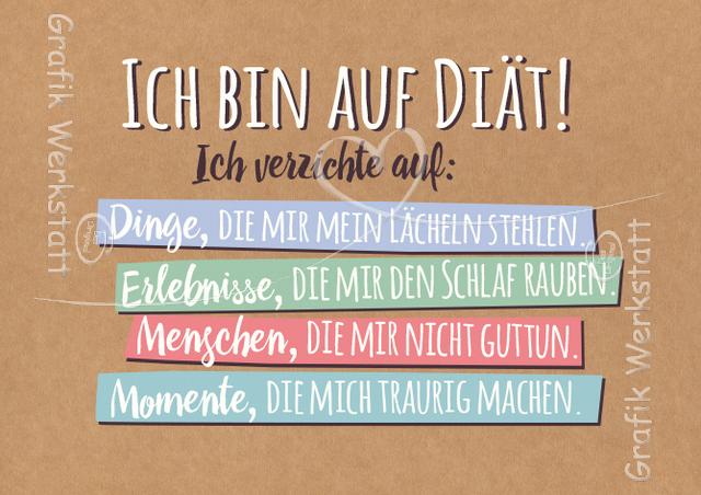 sprüche werkstatt Ich bin auf Diät!   Postkarten   Grafik Werkstatt Bielefeld  sprüche werkstatt