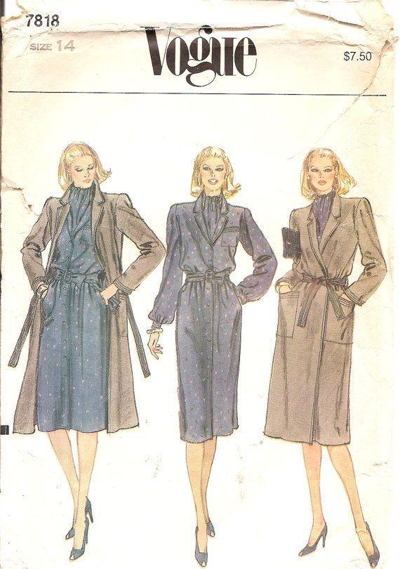 1980s Coat Sewing Pattern - Raincoat Pattern - Long Wrap Coat ...