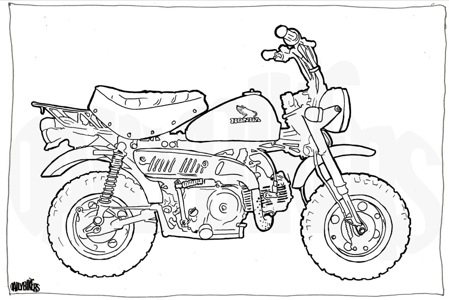 honda z50 minibike colouring page - motorcycle illustration