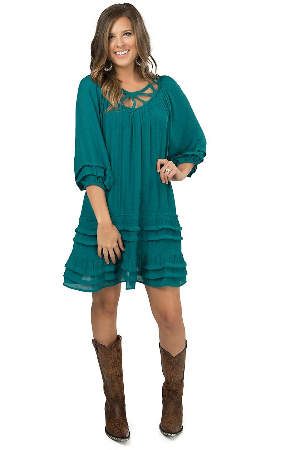 3db93a1228e Umgee Women s Jade Ruffle Cutout Neckline 3 4 Sleeve Tunic Dress - Plus  Sizes