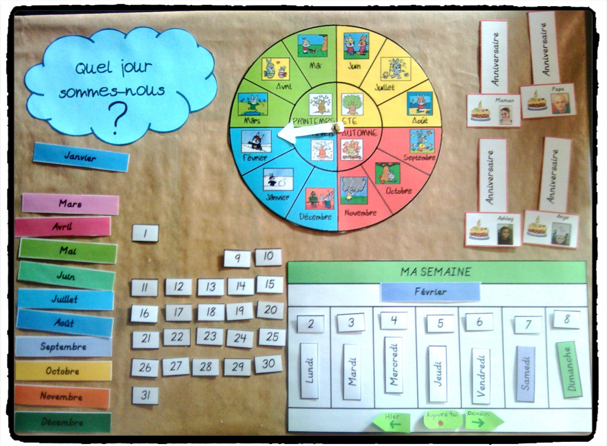Comment Faire Un Calendrier Fait Maison tableau du temps et tableau météo - | semainier enfant