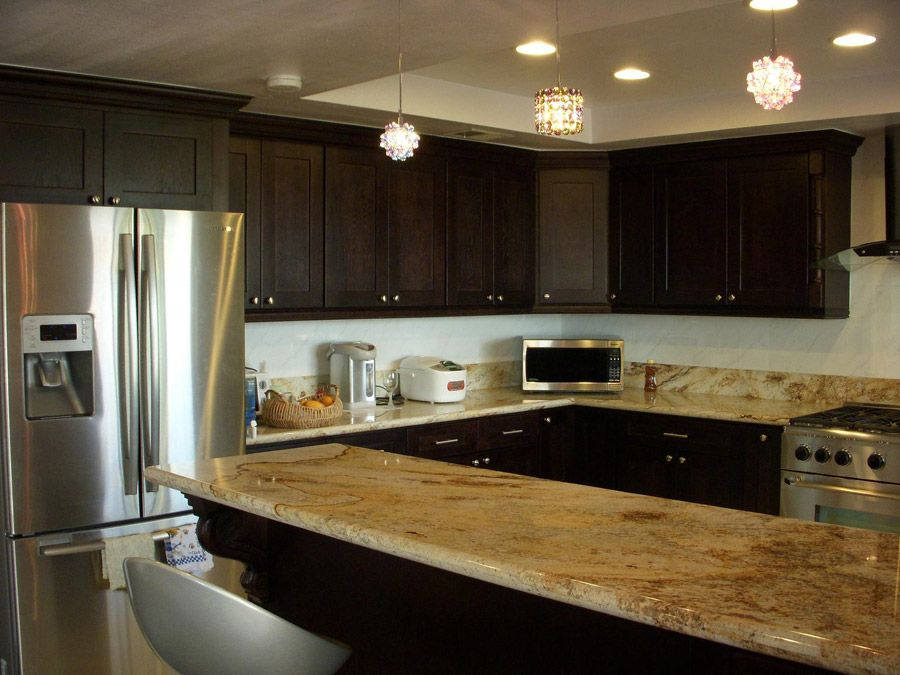 Espresso Cabinets With Yellow River Granite  Espresso Shaker Gorgeous New Design Kitchen Cabinet Decorating Design