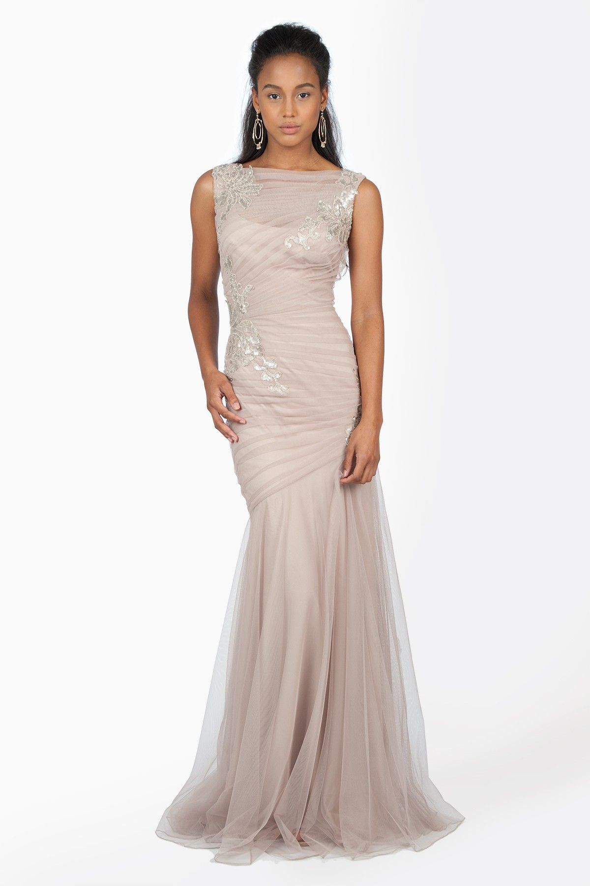 Ruched Tulle Gown with Paillette Embroidered Lace Applique in Sand ...