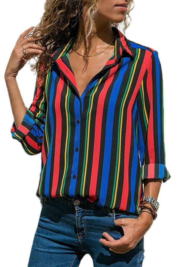 e8cd69cbb06 •Add a pop of color with designful stripes •Button down front