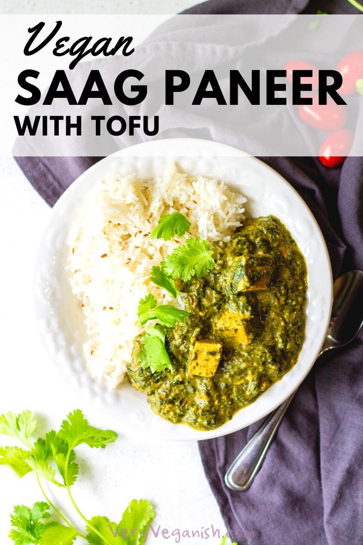 Vegan Saag Paneer Indian Spiced Creamy Spinach Very Veganish Recipe Saag Paneer Recipe Paneer Recipes Saag Paneer