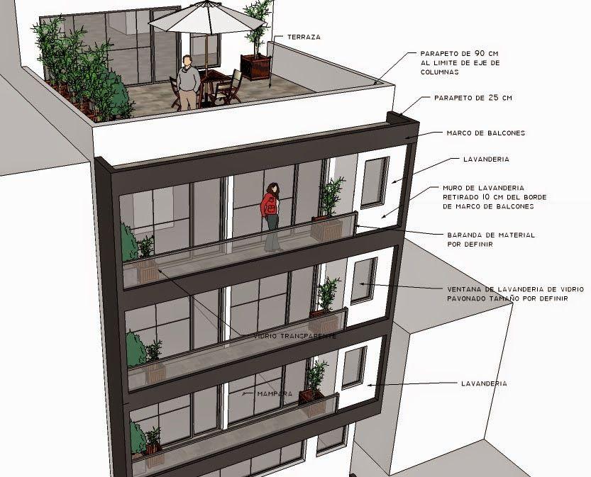 Opciones para fachada en edificio multifamiliar de for Fachadas de departamentos pequenos