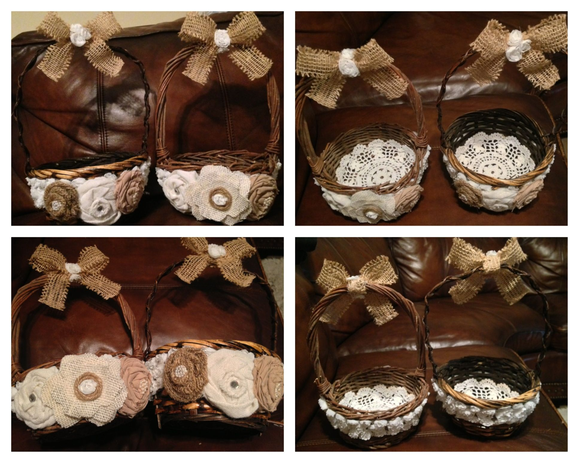 DIY Flower Girl Baskets Rustic vintage shabby chic doilies lace