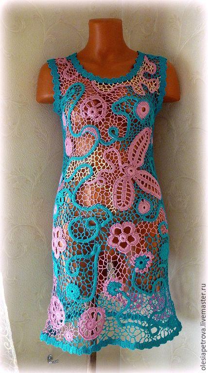 Купить Плстье Калипса - темно-бирюзовый, платье авторское, Платье нарядное, платье вязаное