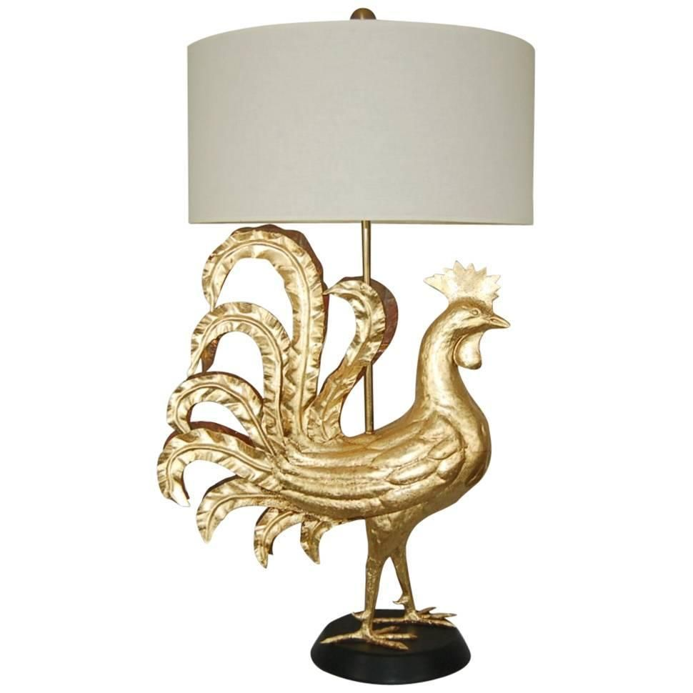 Gold Leaf Marbro Huge Rooster Table Lamp Lamp Table Lamp Vintage Table Lamp