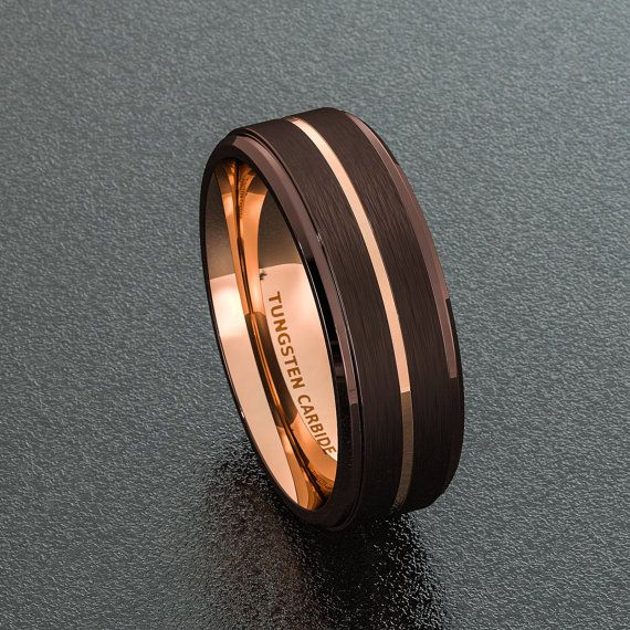 Mens Wedding Band 8mm Espresso Collection Brown Tungsten Ring Two Tone Rose Gold Groove Step Edge Comf Mens Wedding Rings Wedding Ring Bands Mens Wedding Bands