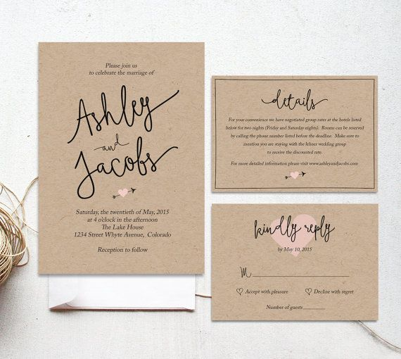 Gallery Minimalist Wedding Invitations: Wedding Invitation Template, Printable Wedding Invitation