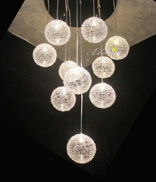 Aluminum wire ball pendant light