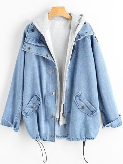 PARTAGEZ et obtenez-le GRATUITEMENT | Veste en jean boutonnée et gilet à capuche – Bleu clair LPour F …   – Gülçin