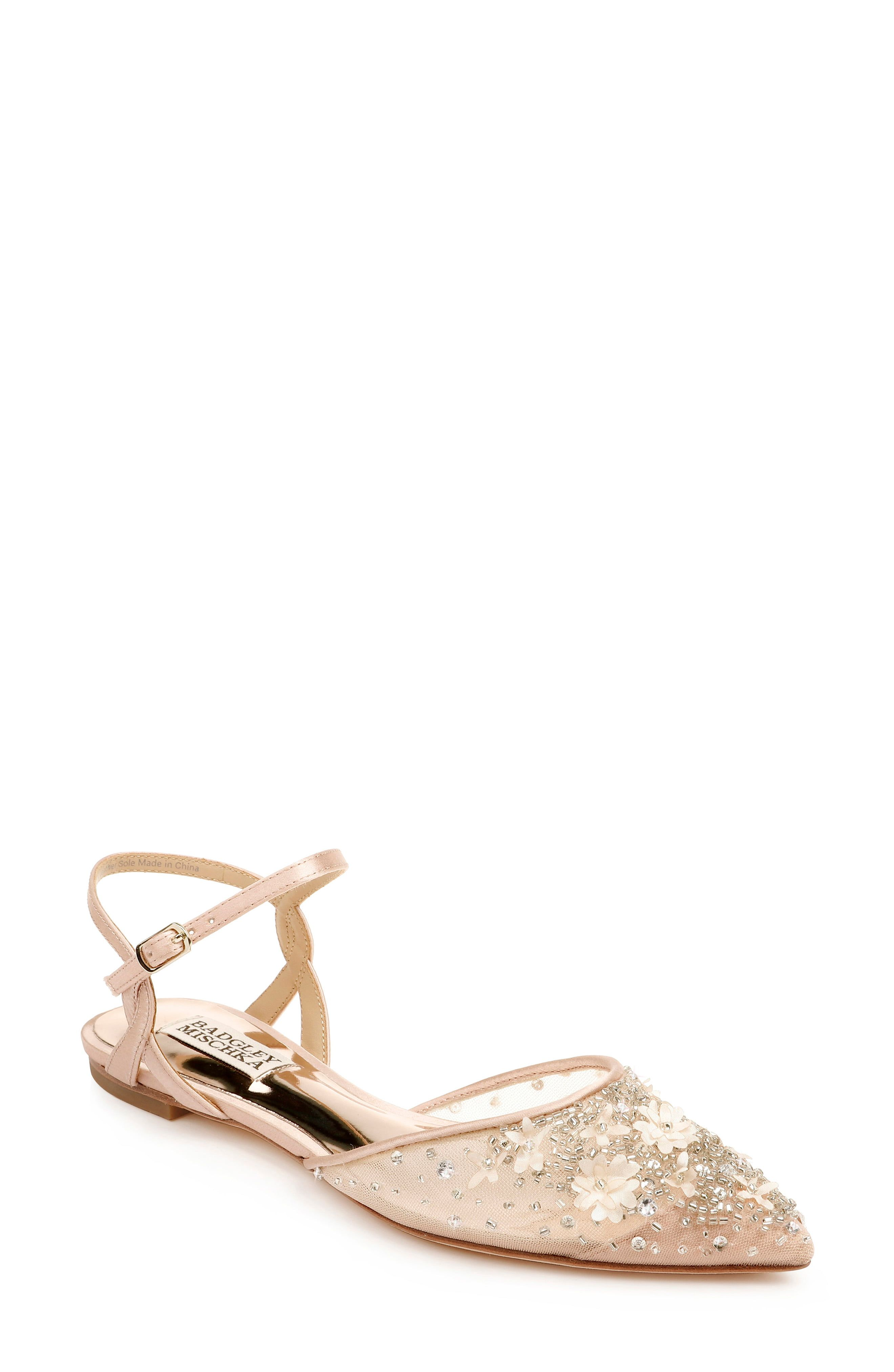 Tiny beads and flower embellishments bring sparkle and shine to the pointy toe of a glamorous ankle-strap flat. Style Name:Badgley Mischka Carissa Embroidered Pointed Toe Flat (Women). Style Number: 5948997_1. Available in stores.