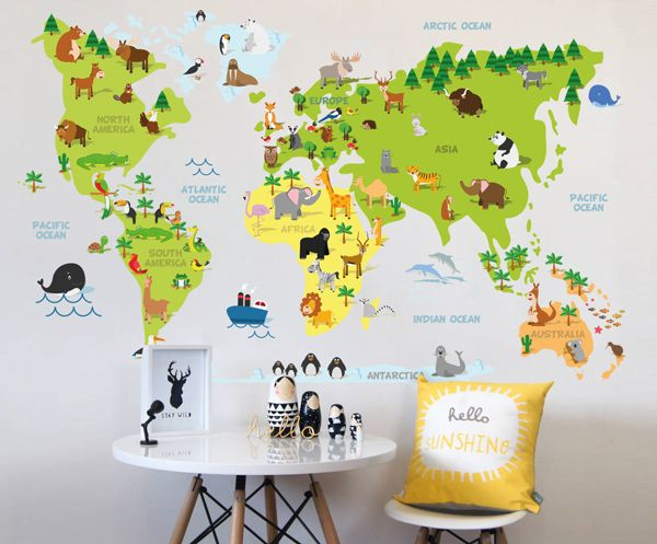 Childrens cartoon world map your decal shop nz designer wall childrens cartoon world map your decal shop nz designer wall art decals wall gumiabroncs Images
