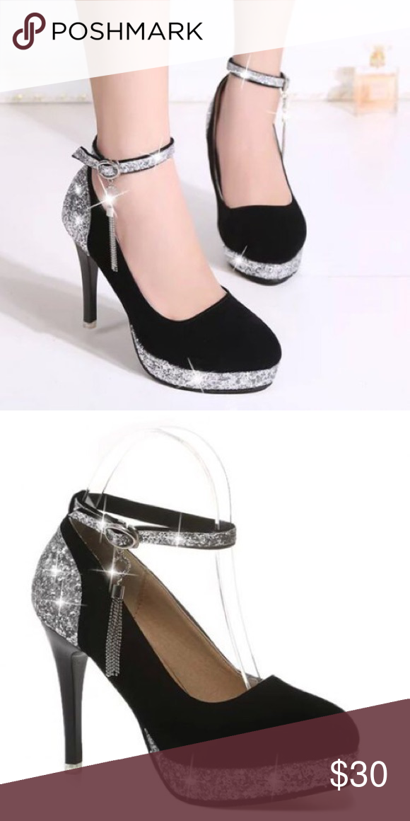 64e4e8e105a Black and Silver Ankle Strap Pumps Product Details Pumps Type  Ankle Strap  Toe Style  Closed Toe Toe Shape  Round Toe Shoe Width  Medium(B M) Heel  Type  ...