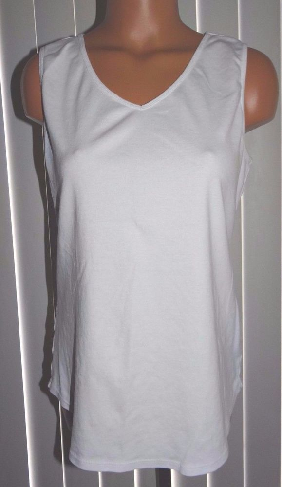 ee226d952f739 Chico s Sleeveless Tank Top Shirt Size 2 Medium White Ultimate Tee  Chicos   TankCami  Casual