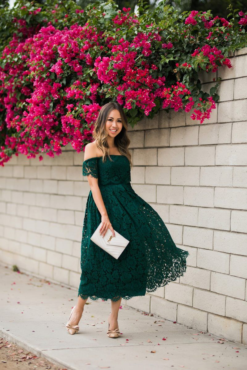 Lace And Locks Petite Fashion Blogger Lace Midi Dress Green Lace Dress Off The Shoulder Lace Dress Wedding Guest Outfit Prom Dresses Lace Asos Lace Dress [ 1200 x 800 Pixel ]