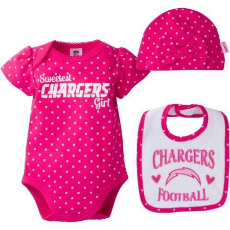 NFL San Diego Chargers Baby Girls Bodysuit, Bib and Cap Outfit Set, 3-Piece, Infant Girl's, Size: 0 - 3 Months, Pink