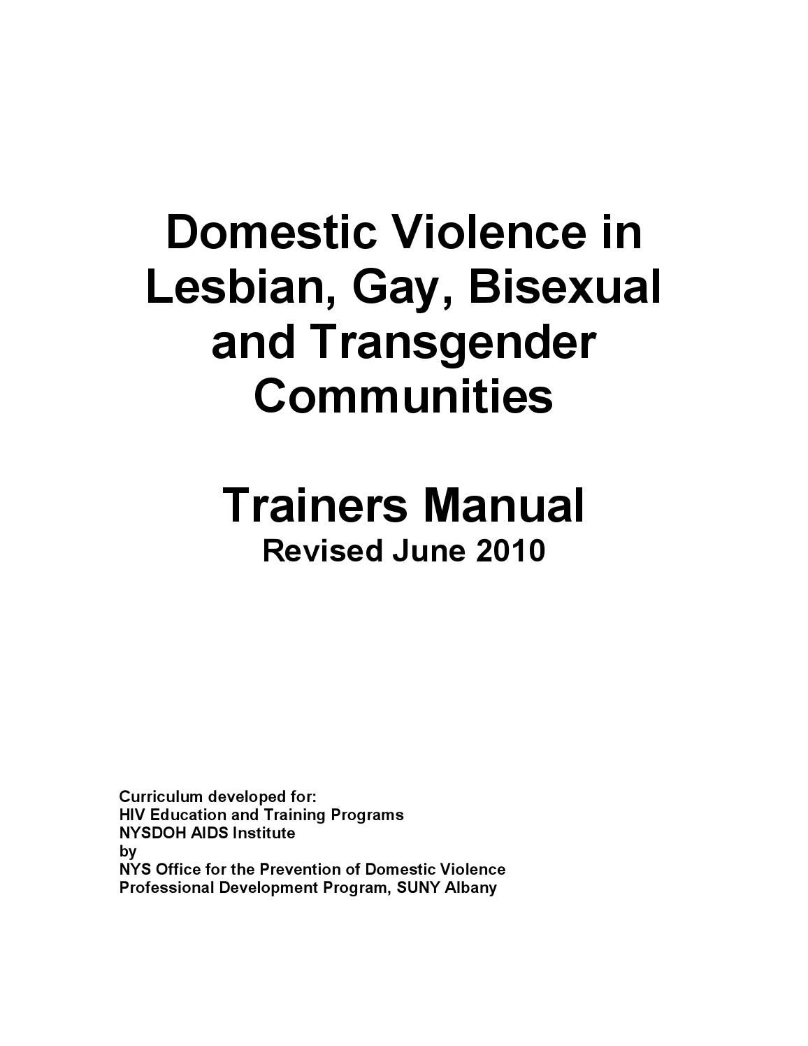 Domestic Violence In Lgbt Communities Trainers Manual Pinterest