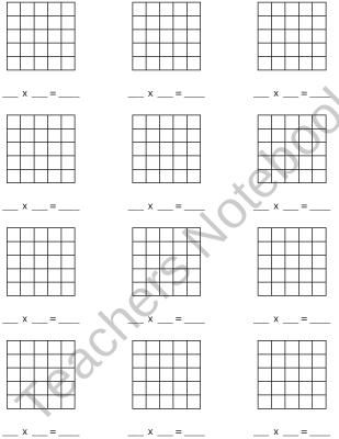Multiplication Blank Arrays up to 5x5 product from