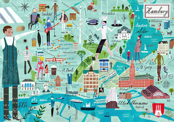 Hamburg illustrated map by Martin Haake Pinteres