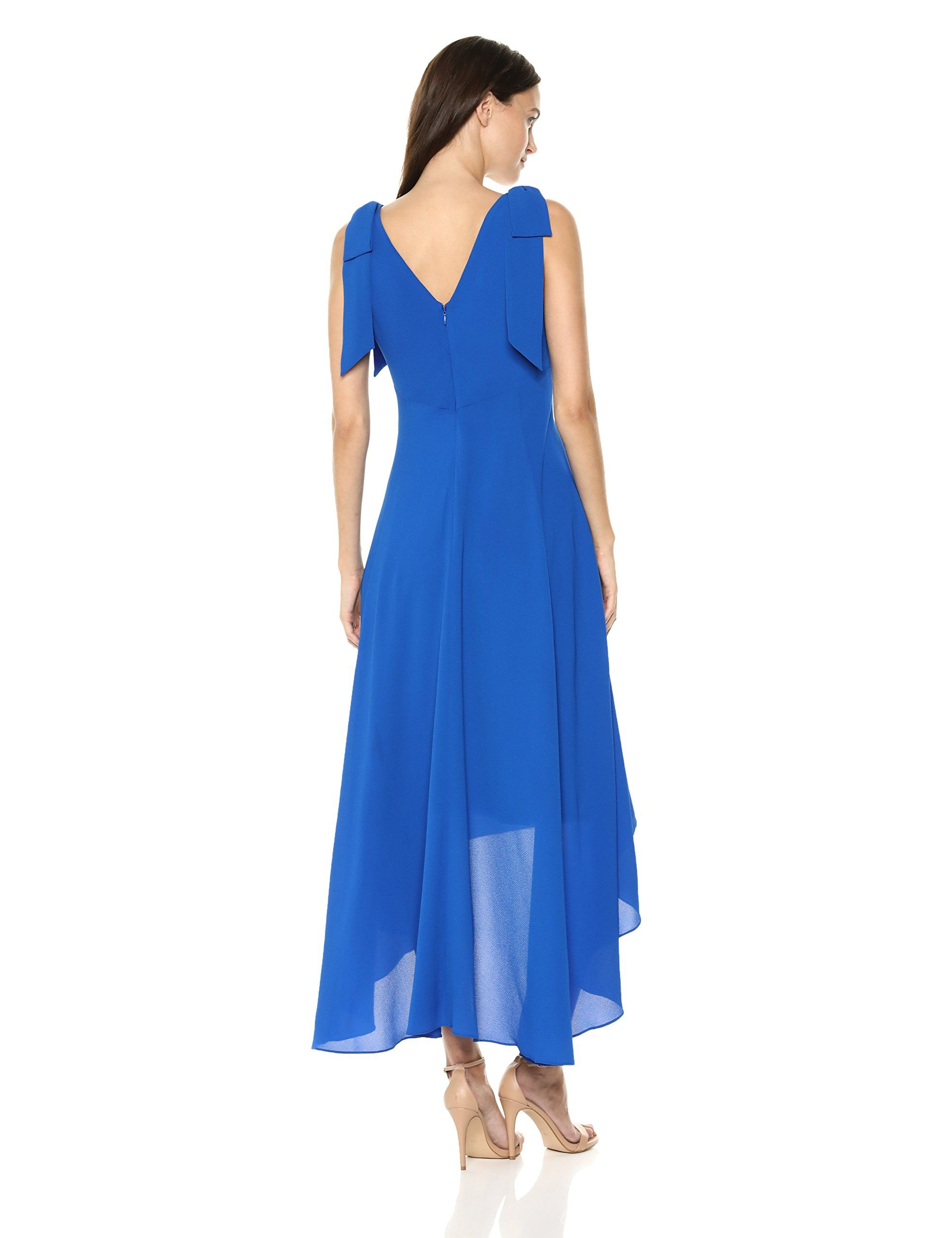 815b62df Nicole Miller New York Womens Sleeveless vNeck High Low Dress with Shoulder  Bows Royal 6 *** You can find out more details at the link of the ...