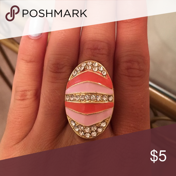 Statement ring Pink, coral, gold, and embellished ring, adjustable, never worn Jewelry Rings