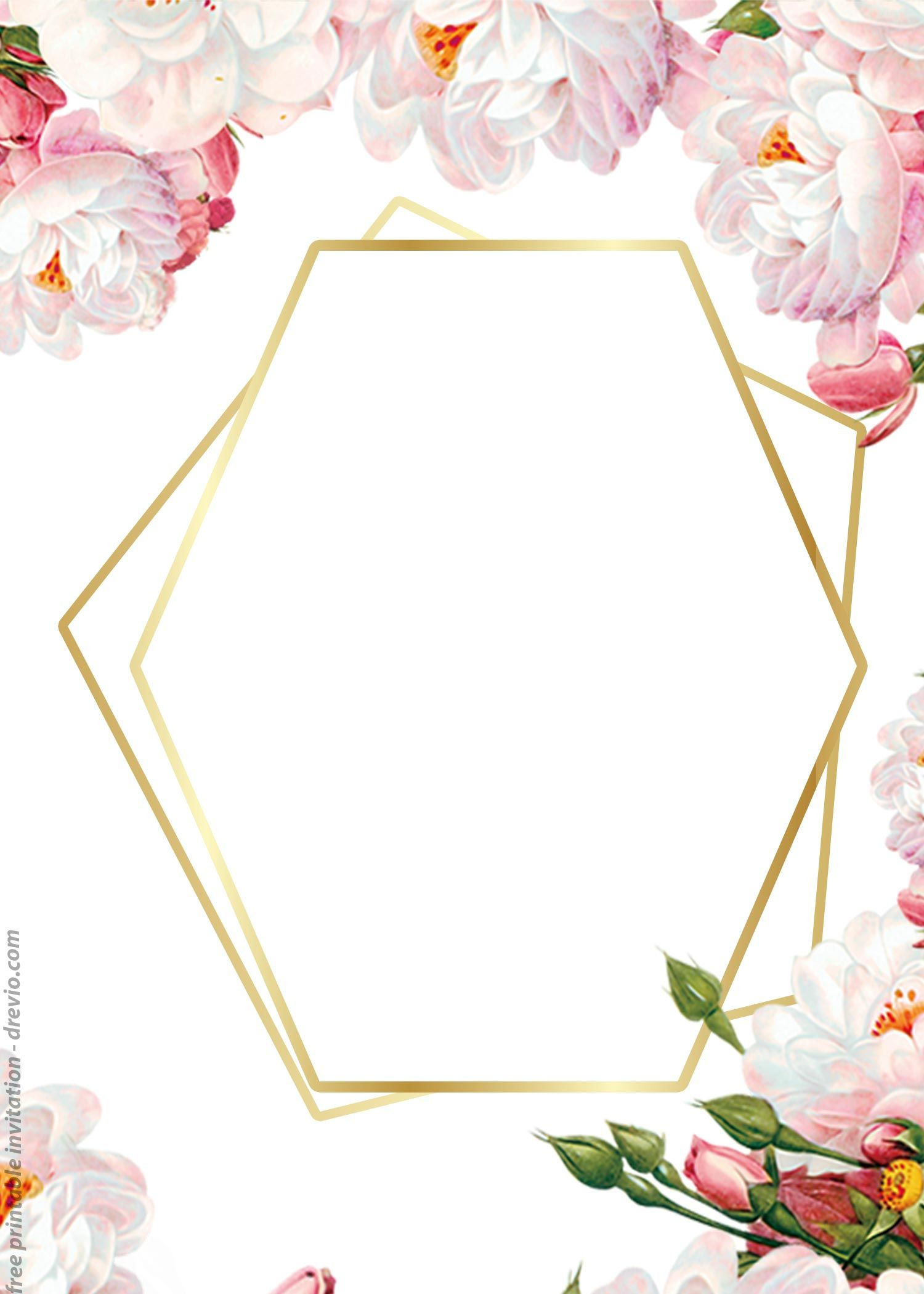 Floral Border With Geometric Frame For Wedding Invitation Card