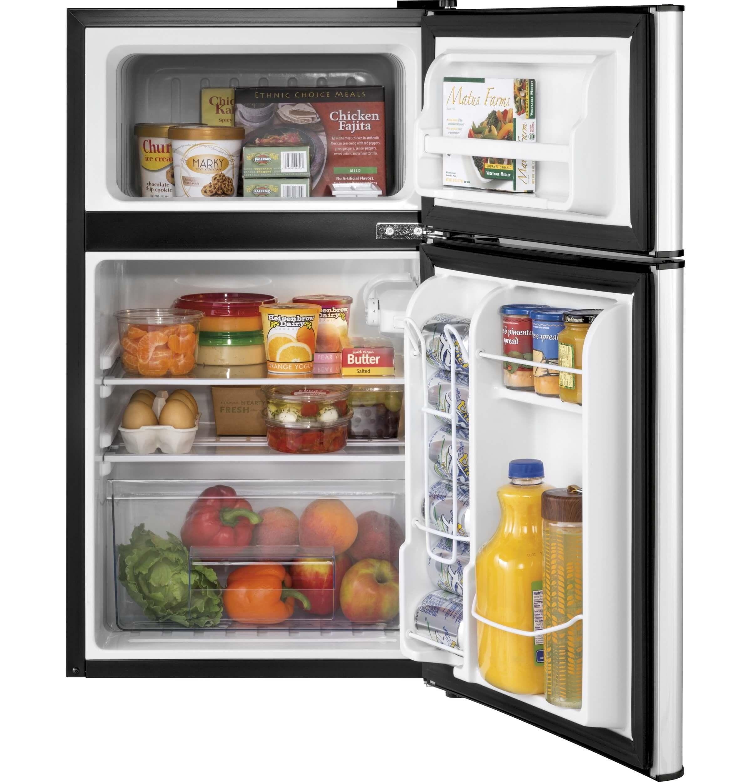 Haier 3 2 Cu Ft Refrigerator Stainless Steel 2door For Dorm Garage Camper Gameroom Basement Or Office Compact Refrigerator Mini Fridge With Freezer Mini Fridge