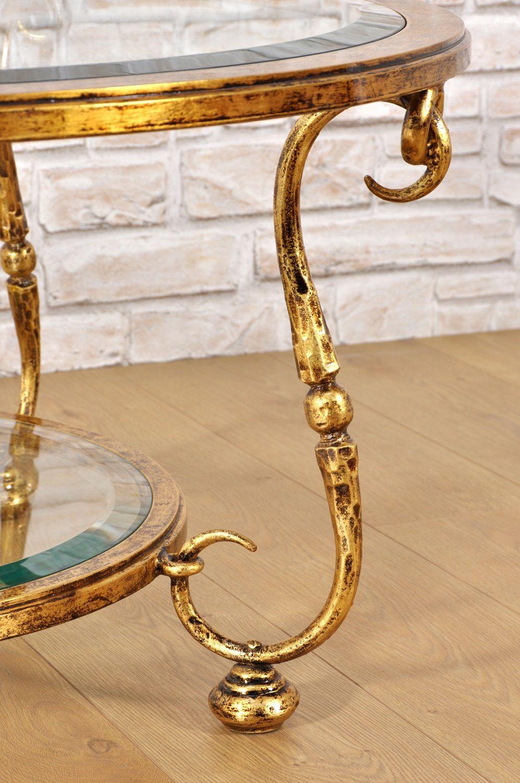 Tavolini Da Salotto In Stile Classico.Tavolo Da Salotto Rotondo In Ferro Battuto Dorato In Foglia Oro