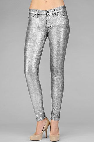 d1aa97f0 7 for All Mankind - The Skinny In Metallic Silver Jacquard | Closet ...