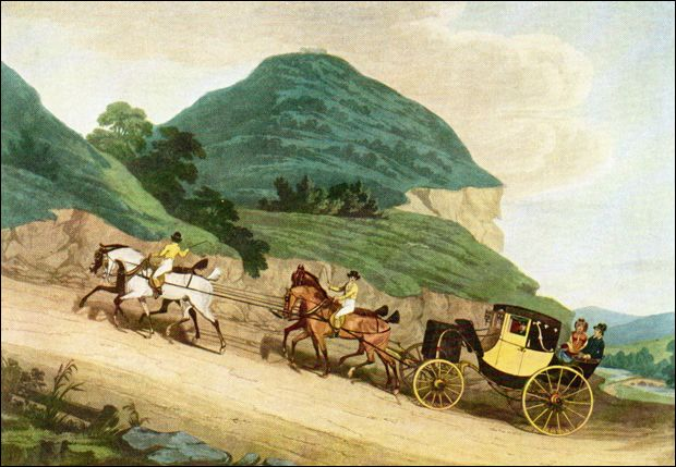 The post chaise or traveling chariot was a small carriage pulled by two or four horses : in a chaise and four - Sectionals, Sofas & Couches