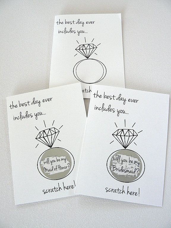 set of 6 - will you be my Bridesmaid/Maid of Honor? - scratch off card - black white - hipster modern wedding by janetmorrin on Etsy